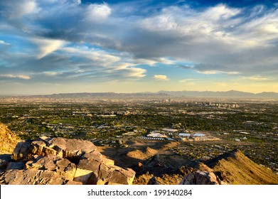 Phoenix view of city and mountains