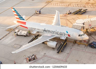 Phoenix,Az/USA - 10.14.18 - Phoenix Sky Harbor International, Airport American Airlines aircraft parked at gates at the Phoenix International Airport prior to take-off.