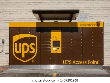 Phoenix,Az/USA - 6.25.19: UPS Introduced lockers in 2015 with nine locations, the program expanded in June 2016 to 300 locations nationwide, where deliveries can be left and picked up.