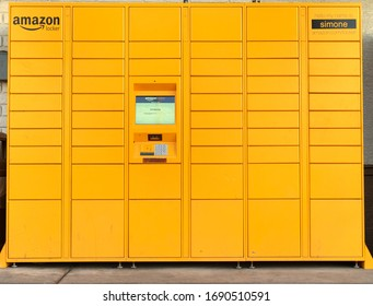 Phoenix,Az,USA 8.12.19: An Amazon Locker which may be used by Amazon customers as a pick up point for mail order goods.