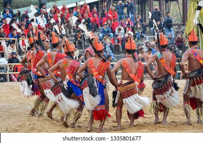 Phom Naga Tribe performing traditional dance at hornbill festival Kohima, Nagaland, India on 6th December 2018