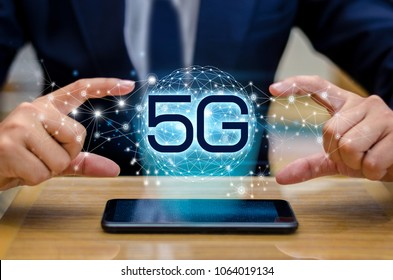 phone 5g Earth businessman connect worldwide waiter hand holding an empty digital tablet with smart and 5G network connection concept