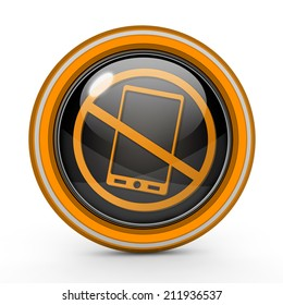 Phone ban circular icon on white background