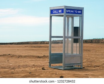 Phone booth in the desert