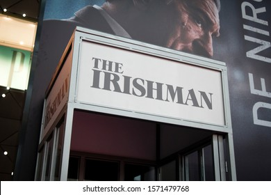 Phone cabine with the logo of The Irishman in Netflix event. ISTANBUL / TURKEY - NOVEMBER 26, 2019.