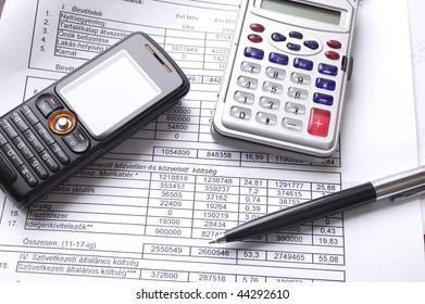Phone, calculator and pen
