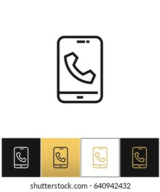 Phone call glyphs or telephone ringtone icon. Phone call glyphs or telephone ringtone pictograph on black, white and gold backgrounds