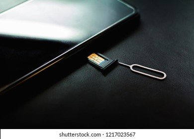 The phone is changing,nano sim card in the store and SIM card adapter to change the size to a micro sim card and the usual SIM card size on a black cushion background.