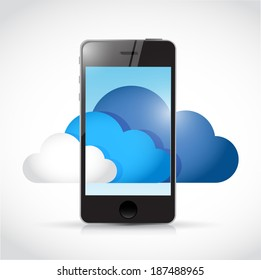 phone and cloud computing concept. illustration design over a white background
