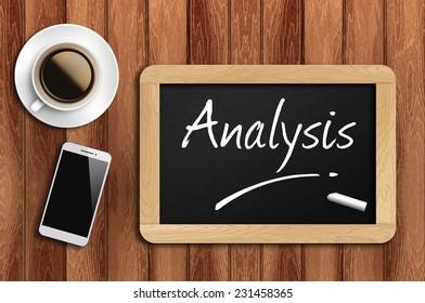 Phone, Coffee And A Chalkboard On The Wooden Table Written Analysis.