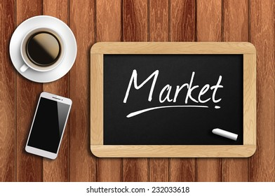 Phone, Coffee And A Chalkboard On The Wooden Table Written Market.