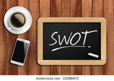 Phone, Coffee And A Chalkboard On The Wooden Table Written SWOT