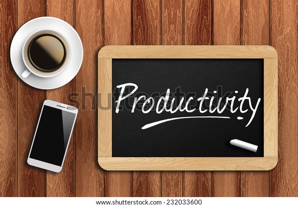 Phone, Coffee And A Chalkboard On The Wooden Table Written Productivity.