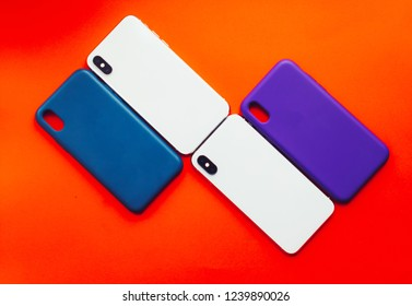 Phone and cover on a colored background