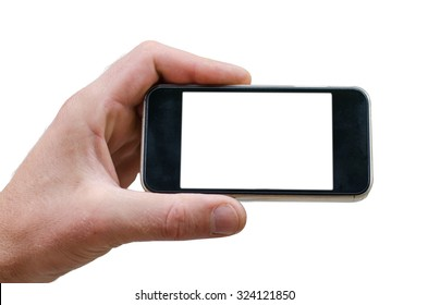 phone in hand man (photo on the white background) isolated