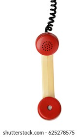 Phone handset and cord on white