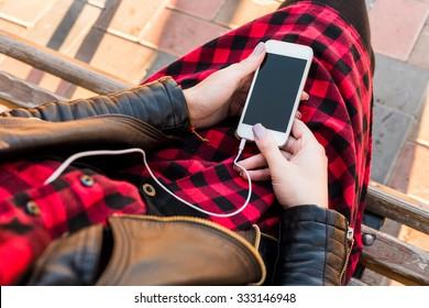 Phone with headphones