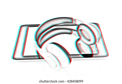 phone and headphones on a white background. Pencil drawing. 3D illustration. Anaglyph. View with red/cyan glasses to see in 3D.