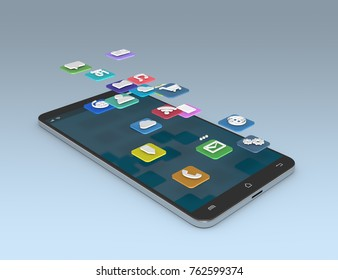 phone with icons that come out of the screen (3d render)