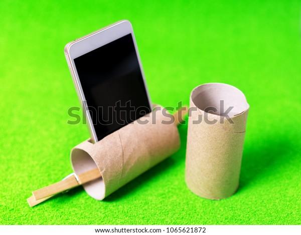 Phone Inside Toilet Sleeve Life Hack Stock Photo (Edit Now