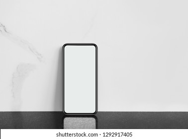 phone on white stone background