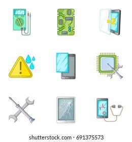 Phone repair tool icons set. Cartoon set of 9 phone repair tool  icons for web isolated on white background