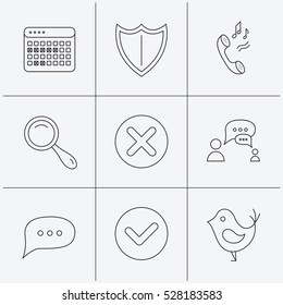 Phone ringtone, chat speech bubble icons. Shield, dialog and magnifier linear signs. Bird, calendar of vacations icons. Linear icons on white background.