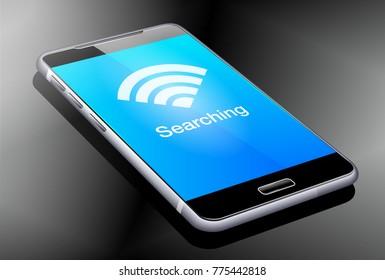 Phone Searching Wifi Signal, 3D illustration - Raster Version