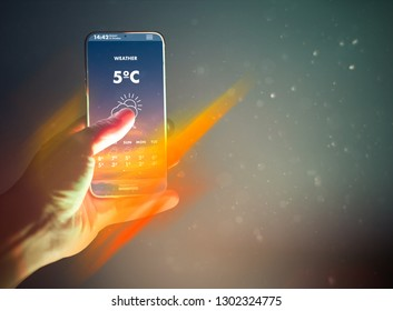 Smart Phone Weather Forecast On Screen Stock Photo (Edit Now