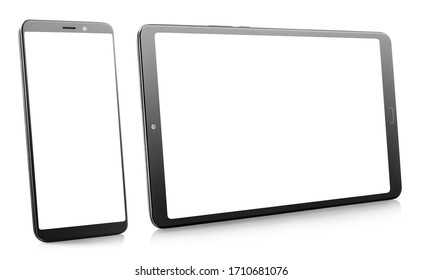 Phone and tablet with blank displays, isolated on white, perspective view
