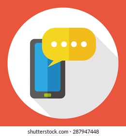 phone talk flat icon with long shadow