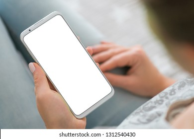 phone white screen woman's hands smartphone. holding mobile. Mockup image of smart phone. close up.chroma key.