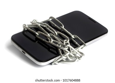 the phone is wrapped with chain on white background