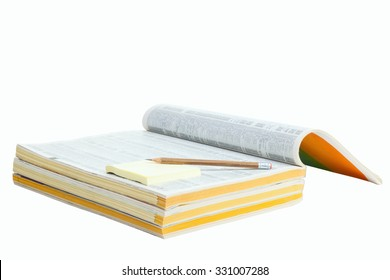 Phonebook with pen and sticker isolated on white background