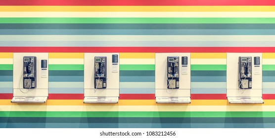 Phonebooth on a colorful wall