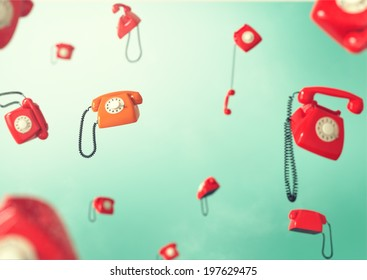 Phones flying in weightlessness. Vintage telephones.