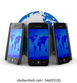 phones and globe on white background. Isolated 3D image