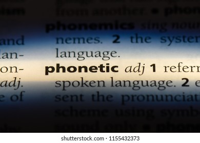 phonetic word in a dictionary. phonetic concept.