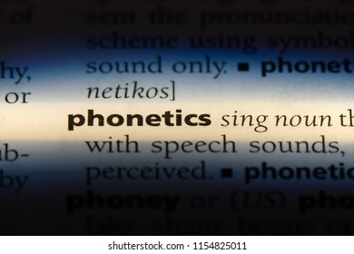 phonetics word in a dictionary. phonetics concept.