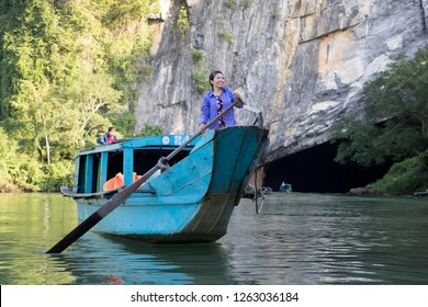 Phong Nha Cave, Quang Binh, Vietnam - 12/2/2018: Entrance to Phong Nha Cave.This is the longest wet cave in the world. The river system runs through the entire cave.