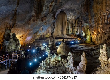 Phong Nha-Ke Bang National Park, Vietnam - January 1, 2019: Interior of Paradise Cave. Surrounded by forested karst peaks, this remarkable cave system extends for 31km.