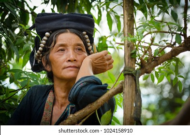 PHONGSALY PROVINCE,  LAOS - AUGUST 21, 2017: Woman from the Akha tribe with traditional headgear resting in the surroundings of the bush.