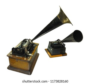 phonograph sound recorder and player gramophone isolated over white background