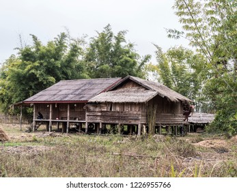 Phonsavan, Laos - February01, 2018: A typical rural stilt house at Phonsavan, Laos.