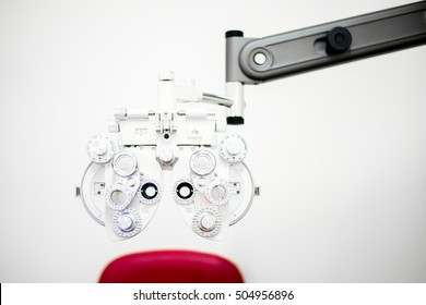 Phoropter in eye doctor optics cabinent