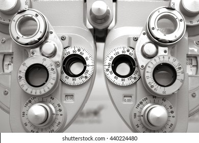 Phoropter, ophthalmic testing device machine,close up,cool tone.