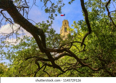 Phot taken at the Alamo in San Antonio TX wiht the beautiful oak tree limbs framing this photo of the church clock tower and Texas Flag