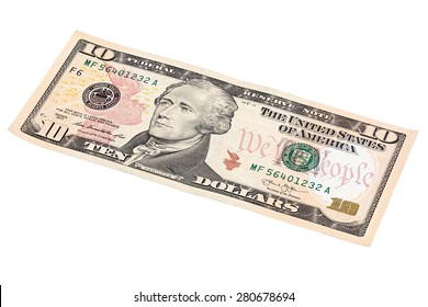Photo of 10 dollars bill stacked end isolated on white background, made at an angle.