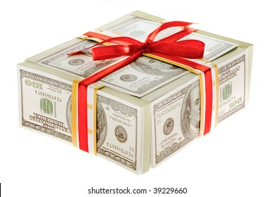 Photo of 3d box made up of dollars decorated with red ribbon over white background