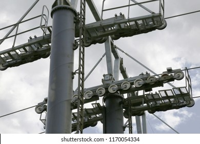 Photo about Overhead contact wires of electrified railway tracks kept under tension,transport. Image of contact, metal, power.